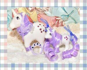 My-Little-Pony-MLP-G1-Vtg-MOMMY-amp-BABY-Moondancer-Unicorn-OOAK-Moon-Star-Set