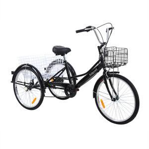 24 zoll 3 rad dreirad f r erwachsene 7 geschwindigkeit fahrrad trike cruise korb ebay. Black Bedroom Furniture Sets. Home Design Ideas