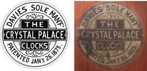 ANTIQUE CLOCK   DAVIES  CRYSTAL PALACE LABEL
