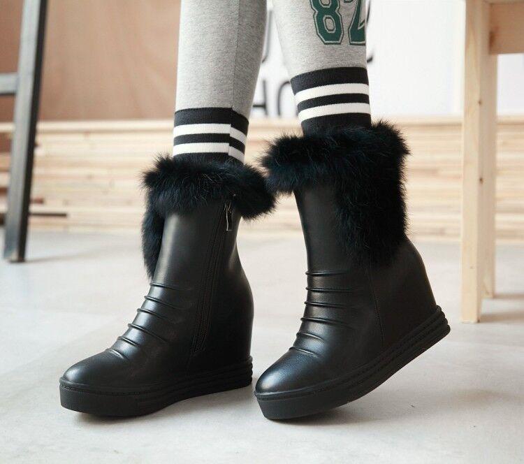 Bottes chaussures pour femmes talon 6.5 noir comme cuir chaudes confortable 9393