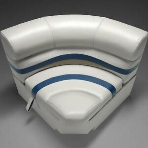 Premium 30 Bow Radius Pontoon Seats Ivory Blue And Tan Ebay