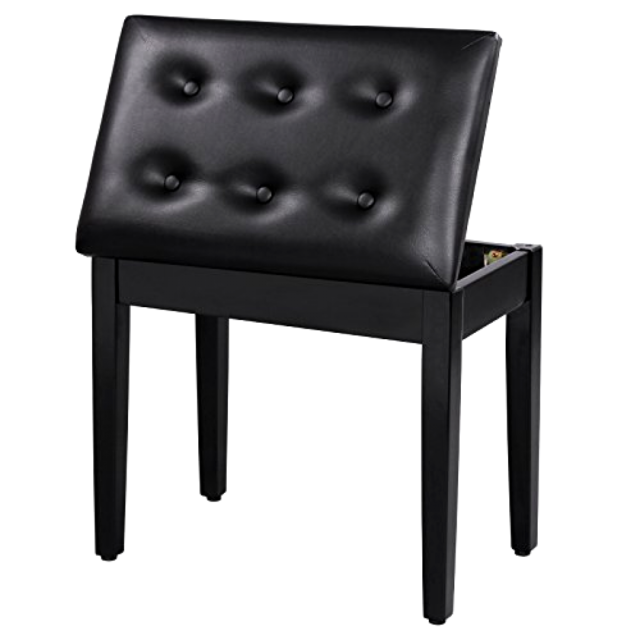 New SONGMICS Padded Wooden Piano Bench Stool with Music Storage Black ULPB55H