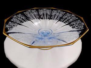 """Cambridge #3077 élégant verre Cleo gravé bleu glace 10 7/8"""" piédestal bol 1921-45"""