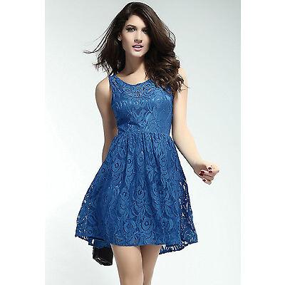 Boldgal Party Mini Skater Club Short Women Blue Lace Dress