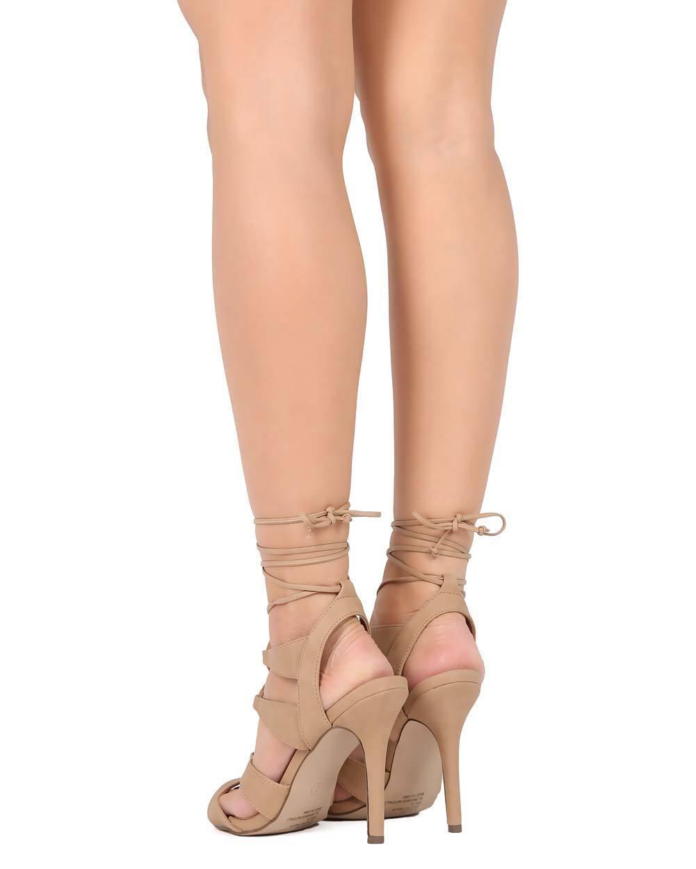 New Women Breckelles Wrap Shea-03 Leatherette Peep Toe Gilly Tie Wrap Breckelles Stiletto Sandal 37eef4