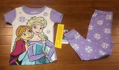 Disney Elsa Anna Girls 5T Short Sleeve Long Pajama Pants