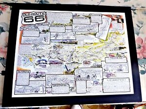Map Of Old Route 66 Arizona.Details About Lovely Colored Cartoon Map Of Old Route 66 Arizona Texas California By Waldmire