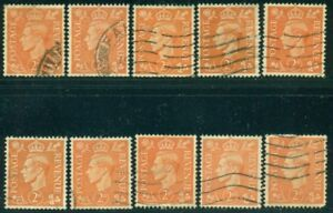 GREAT BRITAIN SG-488, SCOTT # 261, USED, 10 STAMPS, GREAT PRICE!