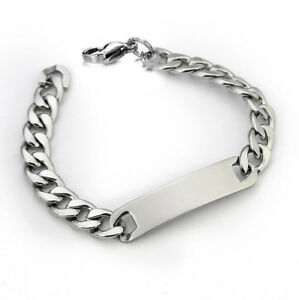 Men-039-s-Punk-Silver-Tone-Stainless-Steel-Chain-Link-Bracelet-Wristband-Cuff-Bangle