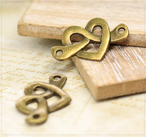8x colgante Charm conector corazón amor Love joyas DIY bricolaje bronce 14x22 5mm