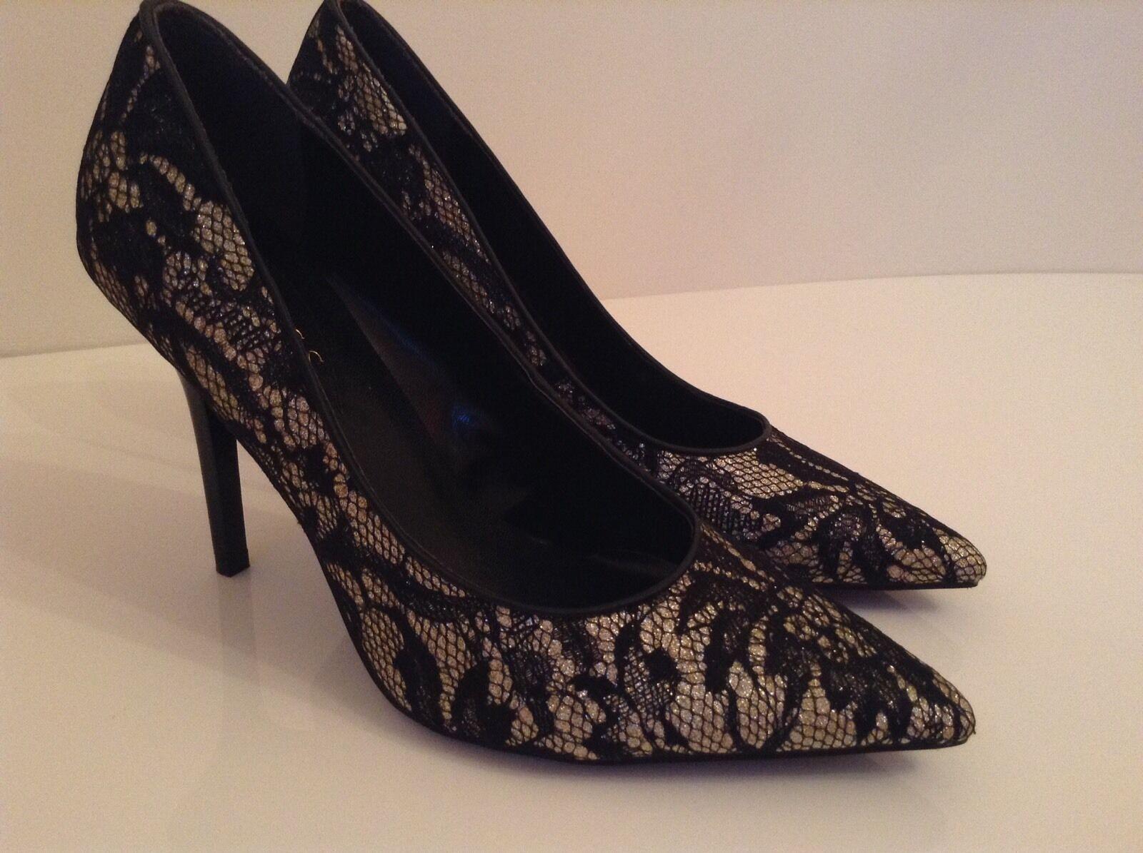 BNWTB 100% auth Guess stiletto schwarz Laced heels. UK 8