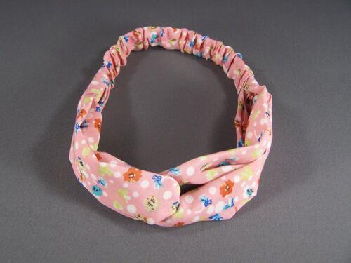 "Pink floral turban twist headband stretch soft chiffon fabric 1.5/"" wide turband"