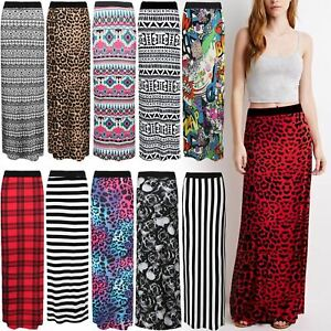 NEW-WOMENS-LADIES-PRINTED-JERSEY-LONG-MAXI-SKIRT-GYPSY-STRETCHY-SKIRT-SIZE-8-26