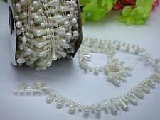10m Pearl Bead Sheer Lace Trim Garland for Wedding//Party Craft Finding Cream