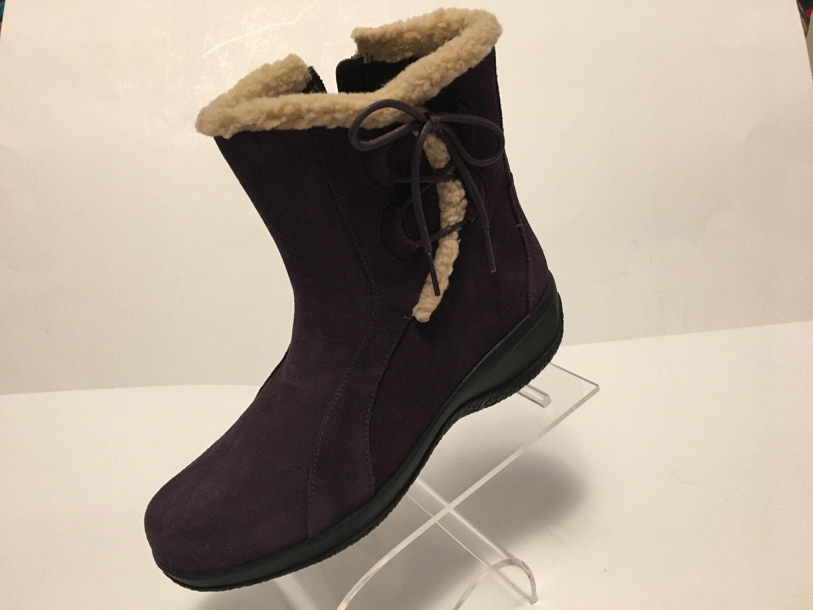 New CLARKS bendables purple leather anklle zip boots US Sz 6.5