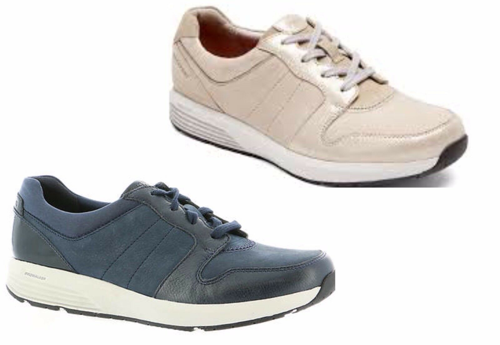 Women's ROCKPORT Derby Trainer  Nylon  Walking Shoes Blue &  Stone Taupe