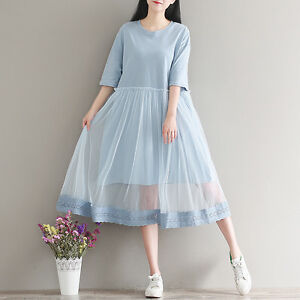 30e5476d061 Japanese Sweet Tulle Layered Mori Girl Half Sleeve Crew Neck Fairy ...