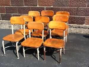 details about lot of 9 vintage heywood wakefield small wood metal school chairs very good