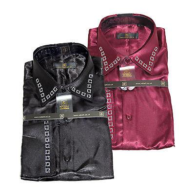 Robelli Men/'s Satin Dress Shirt with Diamante Applique /& Matching Tie Silver