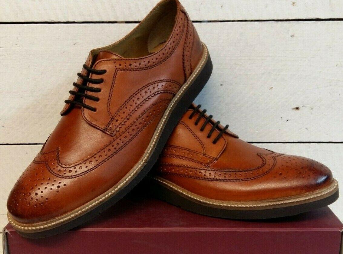 Men's Base London Orion Tan Brogue Leather Lace Up shoes