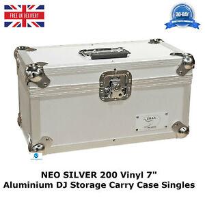 1-X-NEO-Aluminum-Silver-Vinyl-7-034-Storage-for-Records-200-Singles-DJ-Flight-Case