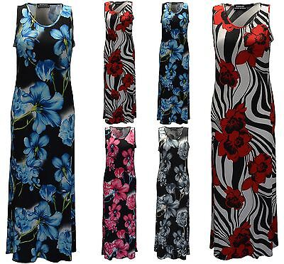 Genial Womens Sleeveless Long Maxi Ladies Floral Print Design Round Neck Summer Dress