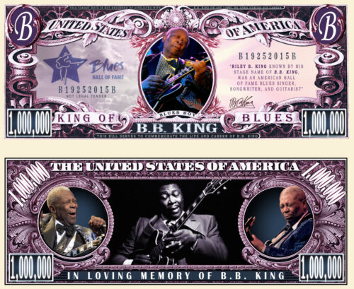 BB King Million Dollar Bill Fake Play Funny Money Novelty Note with FREE SLEEVE