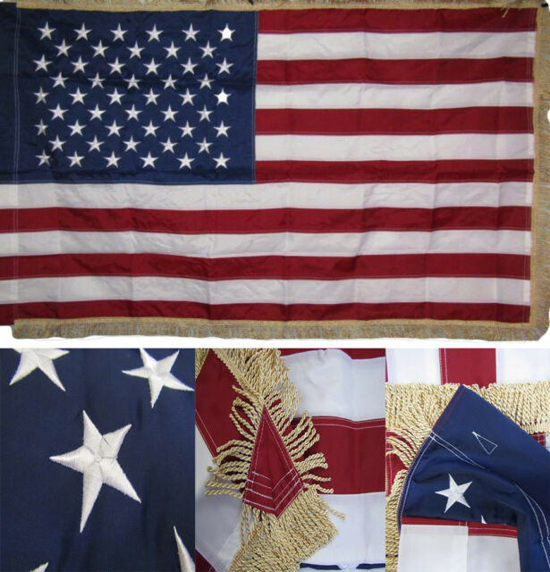 3x5 Ft American Flag GOLD FRINGE With SLEEVE Embroidered Nylon USA Indoor US