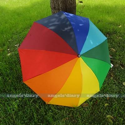 Colorful Rainbow 3 Folding Windproof Anti UV/Rain Women Girl Umbrella/Brolly