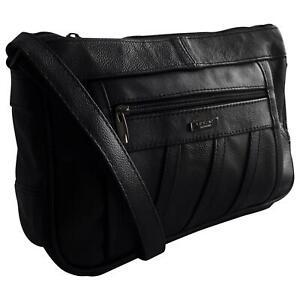 Ladies-Black-Leather-Shoulder-Bag-Womens-Cross-Body-Bag-New