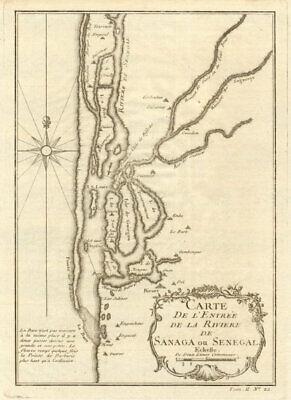 Carte De I Entree De La Riviere De Sanaga Ou Senegal St Louis Bellin 1746 Map Ebay