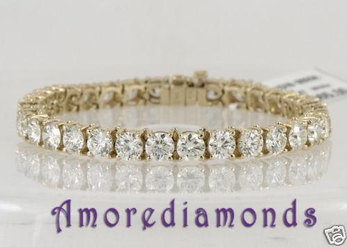 6.1 ct D SI1 natural round ideal diamond 4 prong tennis bracelet 14k yellow gold