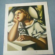 """Sombrero de ala ancha pintura al óleo sobre lienzo"", en el estilo de Tamara Lempicka"