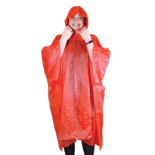 1 x riutilizzabile Poncho Cappuccio Borsa abbinata in plastica colorata luce per Adulti Unisex Pioggia