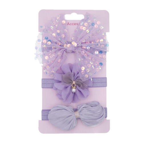 3Pcs//Set Baby Hair Accessories Newborn Photography Lace Flower Bow Headband g