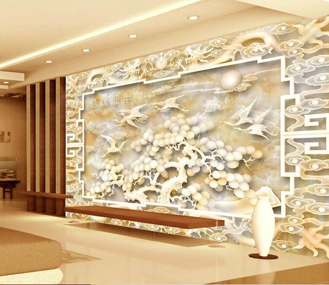 3D Tree Crane Dragon 7 Wall Paper Murals Wall Print Wall Wallpaper Mural AU Kyra