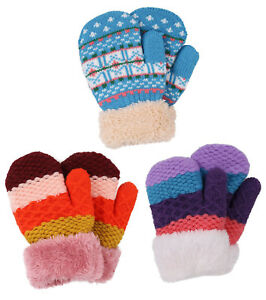 2 Pairs Toddler Kids Sherpa Lined Mittens Baby Boys or Girls Winter Gloves with Adjustable Mitten Clips