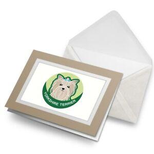 Greetings-Card-Biege-Yorkshire-Terrier-Cartoon-Dog-Face-5987