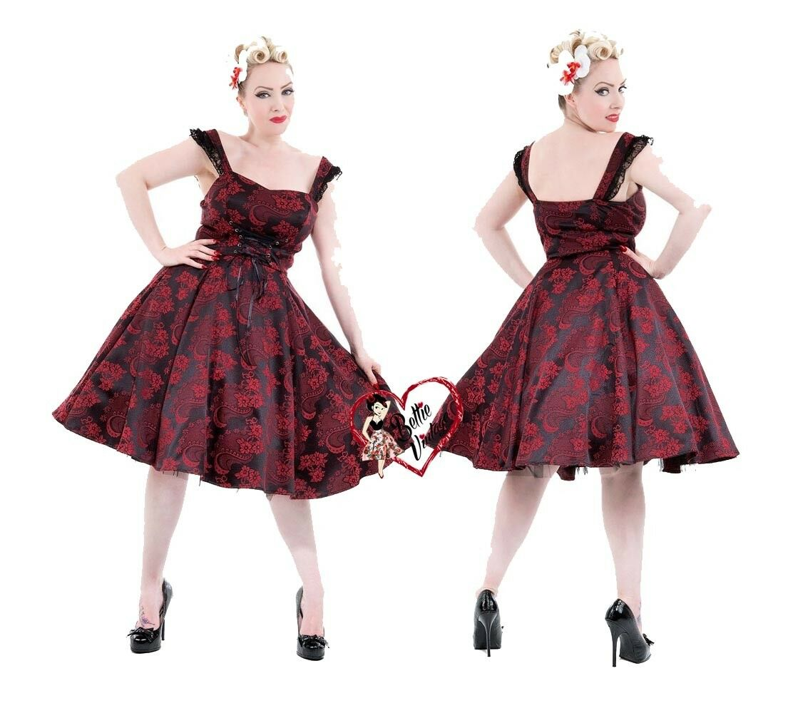Ladies H&R Red Brocade Floral Jacquard Gothic Vintage 50's Evening Party Dress