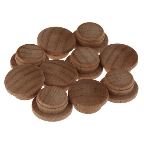 Holz Abdeckkappen flacher Pilzkopf Zierkappen Typ 6 Buche 20mm Bohrloch 10 Stück