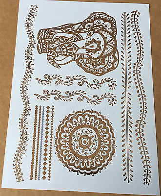 Temporary Metallic Tattoo Gold Silver Black Flash Tattoos Inspired Elephant 1
