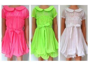 J-N-S-Maedchen-Kleid-Partykleid-neon-pink-gruen-weiss-Gr-98-152-NEU