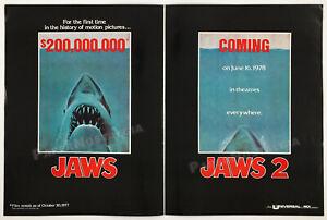 JAWS-2-Original-1977-Trade-print-AD-box-office-promo-poster-ROY-SCHEIDER