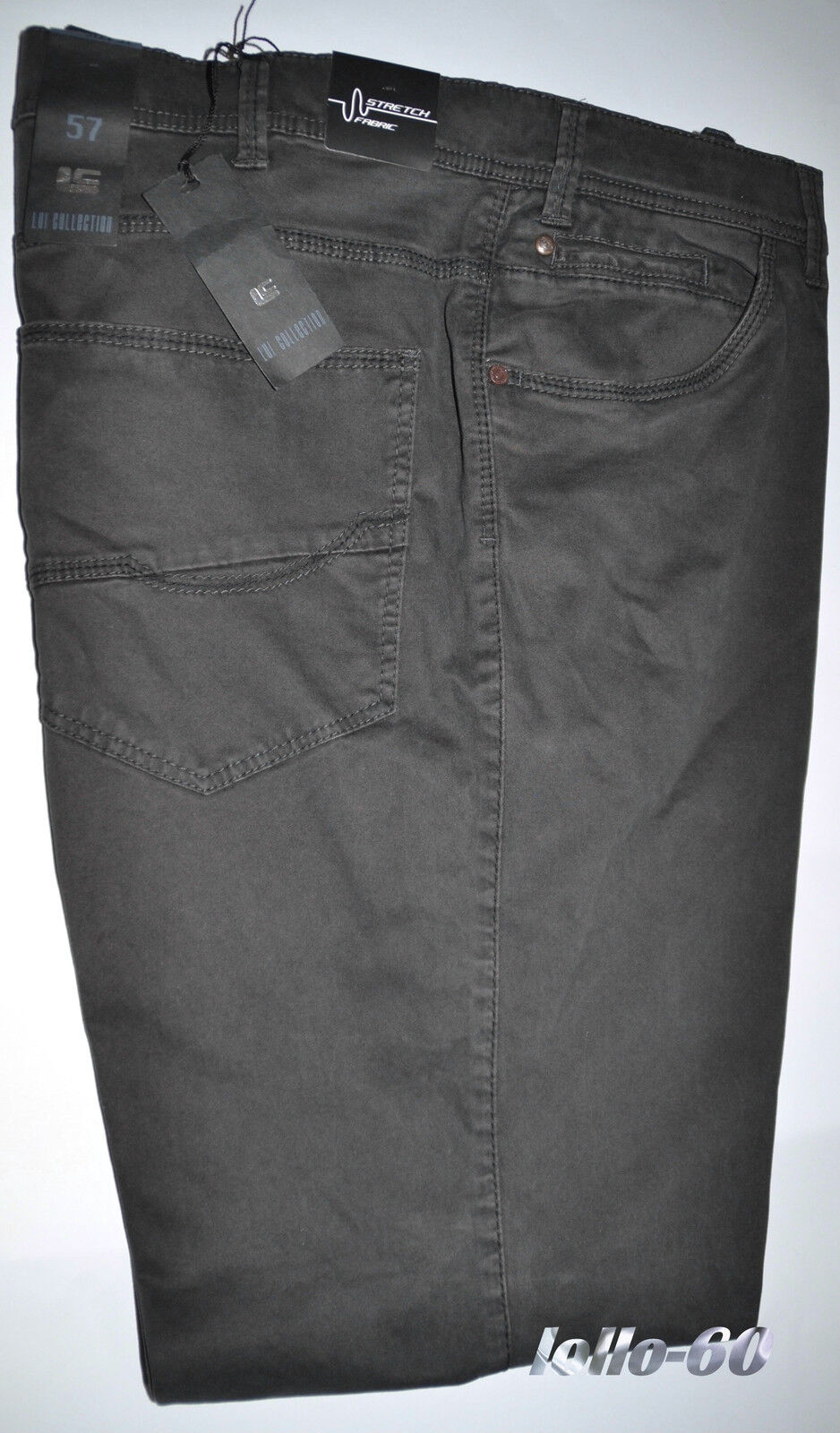 Men's trousers PLUS SIZES 59 MODE warm cotton stretch outsize grey