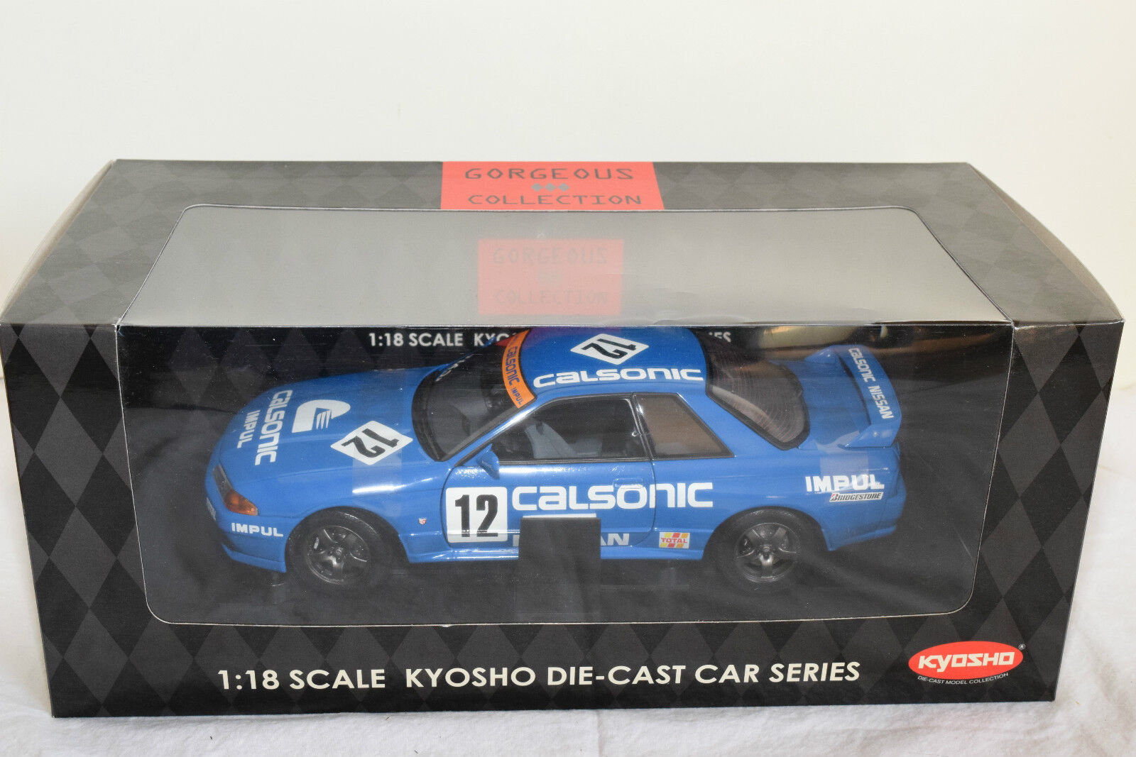 KYOSHO NISSAN SKYLINE GT-R r32 CALSONIC impul MIS. a  12 MINT BOXED RARE RARO