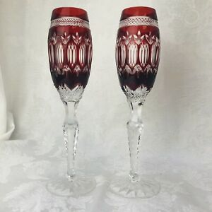 Pair-Of-2-Ruby-Red-Cut-To-Clear-Irish-Crystal-Champagne-Flutes-Signed-Shannon
