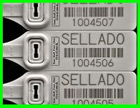 Sello De Seguridad, X-large, Rat-tail Security Seals + Barcode, Spanish Version