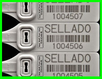 Sello De Seguridad, X-large, Rat-tail Security Seals + Barcode, Spanish Version