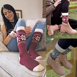 THMO-Ladies-Vintage-Nordic-Fairisle-Style-Winter-Wool-Blend-Socks
