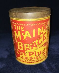 Antique-The-Main-Brace-Cut-Plug-Tobacco-Tin-By-J-G-Dill-Richmond-VA